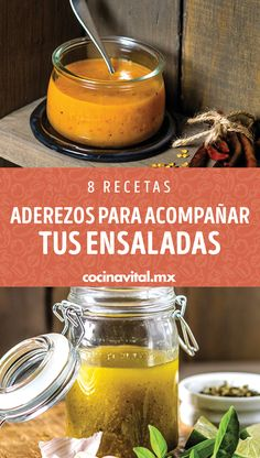 6 recipes of dressings to accompany your salads - Cocina Vital - Simple and cheap recipes for Lent Veggie Recipes, My Recipes, Mexican Food Recipes, Salad Recipes, Favorite Recipes, Healthy Recipes, Cheap Recipes, Cooking Tips, Cooking Recipes