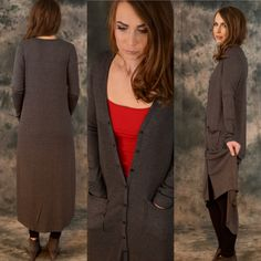 Isadora Charcoal Sweater Isadora charcoal sweater. Find yourself looking like a celebrity with this beautiful thin knit long cardigan. Wear it open or close with its button closure in front!  35%Rayon 63%polyester and 2%spandex. Available in small medium and large, please contact me for your own listing!! Lewboutiquetwo Sweaters Cardigans