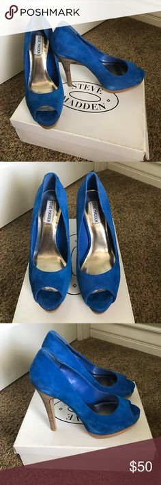 Blue Steve Madden Heels Blue suede peep toe with wood heels.  Only worn once, excellent condition, original box.  Bundle and save!! Steve Madden Shoes Heels