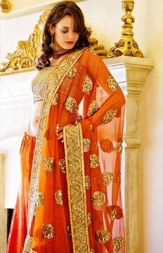 Gorgeous Lehenga, Choli & Dupatta Ensemble @ Charisma Boutique, Chicago for #Desi #IndianWedding via @Meryl Reddy  Really want to wear this color for the wedding