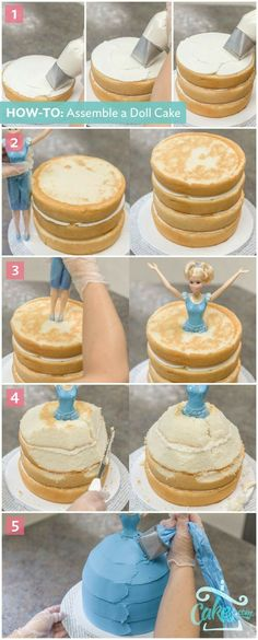 Doll Cake Tutorial: Stack cake layers until you reach your doll's hips and then carve to create the shape of a skirt. See full tutorial here. Cake Cookies, Cupcake Cakes, Owl Cakes, Fruit Cakes, Bolo Diy, Bolo Barbie, Decoration Patisserie, Diy Cake, Diy Doll Cake