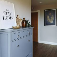 Entrance hall decor with IKEA hemnes shoe storage unit in grey updated with gold knobs. Check out my interiors account below Shoe Storage Unit, Entrance Hall Decor, Blue Interiors, Lets Stay Home, Hemnes, Friday Feeling, Dried Flowers, Interior Inspiration, Home Accessories