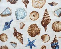 Sea Shell Fabric, Hidden Cove 14294 Robert Kaufman, Beach Fabric, Seashell Fabric, Cotton Shell Fabric, Shell Quilt Fabric, Ocean Fabric