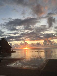 Infinity pool at the InterContinental Fiji Sunset Sky, Sunrise, Fiji, Infinity, Beautiful Places, Bucket, Clouds, Celestial, Outdoor