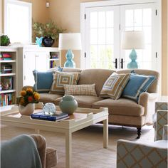 Possible new color scheme for living room. love the colors...