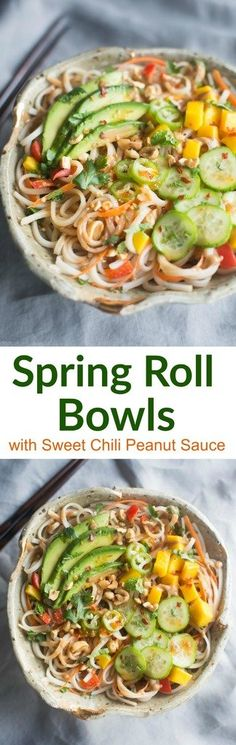 All of the flavor you love from fresh spring rolls, transformed into delicious Spring Roll Bowls with Sweet Chili Peanut Sauce. | tastesbetterfromscratch.com via @betrfromscratch