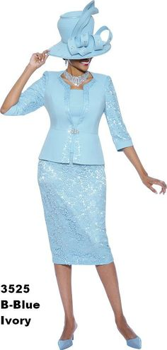 Floral Lace Ladies Church Suit 3525 Church Suit By Susanna - Divine Church Suits