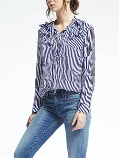 How cute would this be half un-buttoned over a bikini, with a classic Panama hat? Just add a margarita!