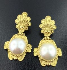 Lady's 18k Yellow Gold Etruscan style Pearl Dangle Earrings in Jewelry & Watches, Fine Jewelry, Fine Earrings | eBay