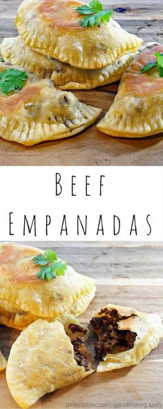 I love empanadas and these Oven Baked Beef Empanadas are no exception! Perfectly hand-sized, they are great for a casual family dinner with a Mexican-flavored theme! DelectableCookingandBaking.com | #beefempanadas #beefdinner #mexicannight #empanadadough