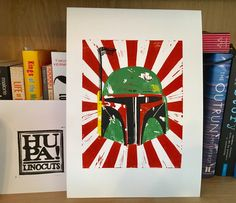 Items similar to Boba Fett Linocut on Etsy Star Wars Collection, Star Wars Characters, Boba Fett, Smudging, The Incredibles, Prints, Etsy, Art, Art Background