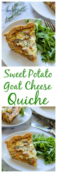 Sweet Potato Goat Cheese Quiche with Caramelized Onions, plus how to make and freezer quiche ahead for an easy brunch!