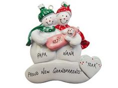 Proud New Grandparents Ornament Snow Couple with Granddaughter