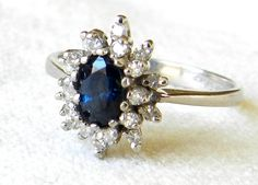14K Sapphire Diamond White Gold Engagement by LoveAlwaysGalicia, $474.00