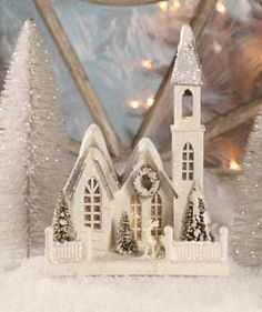 "Pressed paper church covered in glitter. Bethany Lowe Designs. 8 x 5"" x 11"" tall."