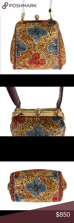 NWT Dolce & Gabbana Mosaic print BAG AGATA Dolce & Gabbana Bag  Absolutely stunning, 100% Brand new with tags Dolce & Gabbana multicolor Mosaic print BAG AGATA hand bag. This item comes from the exclusive MainLine Dolce & Gabbana collection.  Model: BAG AGATA Style: Hand evening bag Color: Multicolor, gold metal detailing, red snakeskin Material: 6% PA, 69% Wool, 25% Python snakeskin Strap: Adjustable shoulder strap  Very rare and exclusive runway catwalk bag, one of a kind!  Measurements…