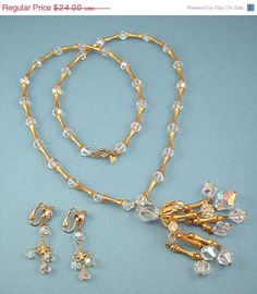 Crystal Necklace and Earrings Stunning by AtticDustAntiques, $19.20