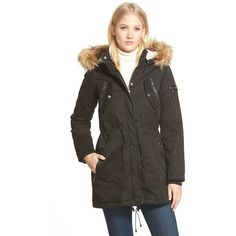 Steve Madden Faux Fur Trim Cotton Twill Parka (1,850 MXN) ❤ liked on Polyvore featuring outerwear, coats, black, faux fur trim hooded parka, insulated coat, hooded coat, parka coat and hooded parka