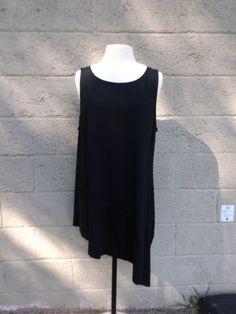 Eileen Fisher Asymmetrical Tunic Tank Black Viscose #EileenFisher #Tunic