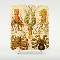 """OCTOPUSES     Shower Curtain   71"""" BY 74""""   Art-Bath-Bathroom-Home Decor-Curtain"""