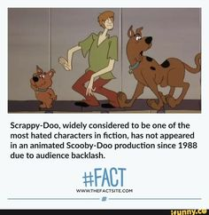 Scrappy-Doo, widely considered to be one of the most hated characters in fiction, has not appeared in an animated Scooby-Doo production since 1988 due to audience backlash. Movie Facts, Funny Facts, Weird Facts, Crazy Facts, Funny Memes, Hilarious, Scooby Doo Memes, Disney Lessons, Fandom Memes