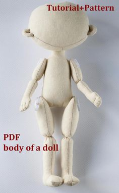PDF Pattern Cloth Doll Pattern doll Make a Doll Textile doll Sewing Pattern PDF Sew a doll Pattern of the doll body Handmade Dolls Patterns, Doll Patterns Free, Doll Sewing Patterns, Doll Clothes Patterns, Pattern Sewing, Fabric Doll Pattern, Sewing Doll Clothes, Sewing Dolls, Fabric Crafts