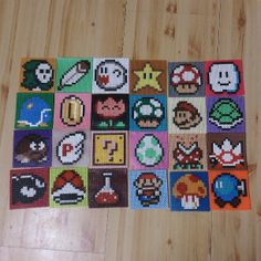 24 Mario coasters perler beads by parlplaneten