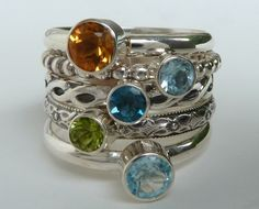 Stackable Birthstone Rings / Set of 5 Faceted Gemstones / Sterling Silver / Mothers  Ring / Birthstone Stacking Rings. $199.00, via Etsy.