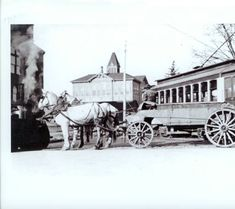 Horse drawn fire wagon used by the Vancouver fire department. A streetcar appears in the background. Vancouver Washington, Fire Dept, Fire Department, Old Photos, Vintage Photos, Clark County, Hudson Bay, Horse Drawn