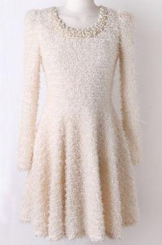 Vestido plisado lanudo aplique perlas mangas largas-Crudo  EUR24.09