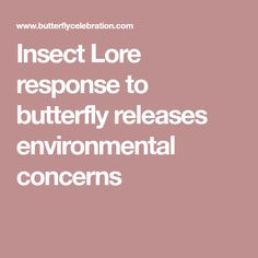 Insect Lore response to butterfly releases environmental concerns