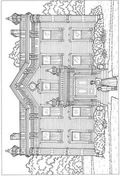 Creative Haven Victorian Houses Architecture Coloring Book @ Dover Publications House Colouring Pages, Coloring Book Pages, Printable Coloring Pages, Coloring Pages For Kids, Coloring Sheets, Colorful Drawings, Colorful Pictures, Creative Haven Coloring Books, Free Adult Coloring