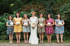 Floral bridesmaids dresses mismatched coordinating tea dress