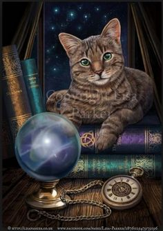 Tabby Cat with books © Lisa Parker (Artist. UK) via her site.  Also at: www.facebook.com/pages/Lisa-Parker/287602547979196 Halloween image. Imprinted gift items available at various online shops.   [Do not remove caption. The law requires you to credit the artist. List/Link directly to artist website.]  PINTEREST on copyright:  http://www.pinterest.com/pin/86975836526856892/  HOW TO FIND an image's original artist & website: http://www.pinterest.com/pin/86975836525507659/