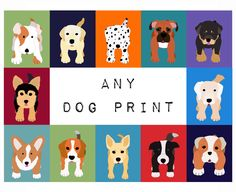 Nursery Art dog print for baby, artwork child. ANY DOG print from the WallFry selection. For kids room decor from painting by Wallfry on Etsy https://www.etsy.com/listing/95844388/nursery-art-dog-print-for-baby-artwork