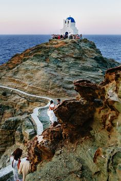 Chursh of Epta Matyres in Sifnos, look at the bride at the bottom of the path...amazing. See more http://www.love4weddings.gr/modern-wedding-in-sifnos-photoshoot-by-alefantou-photography/ #churchinsifnos #realgreekweddings