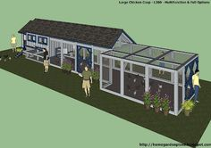 Large chicken coop plan, this one could be good too. Could easily add Japanese architecture to make it fit.