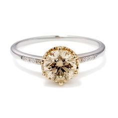 Champagne diamond solitaire. Simple, yet absolutely elegant and luxurious.    Hazeline    Hazeline