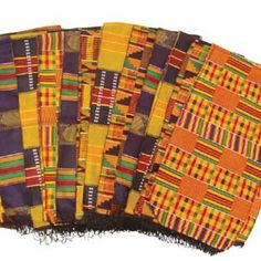 Set Of 12 Kente Sashes (3 Of Each)  $49.50 For an array of new looks Try this set of twelve kente scarves. Each one represents wealth and royalty throughout Africa. C-A929 See more here: africaimports.com