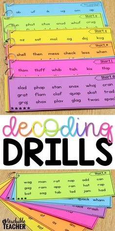 Decoding drills for fluency are a perfect and fun way for kindergarten and first graders to practice decoding words. They help build speed and automaticity, which improves reading fluency. They also make great reading intervention activities. First Grade Reading, Student Reading, Teaching Reading, Early Reading, First Grade Phonics, Reading Help, Title One Reading, Reading Fluency Games, Word Reading