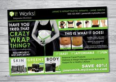 """Whether youre new to It Works! or a seasoned veteran Distributor, fabulous and cost-effective BLITZ CARDS are A MUST! Why buy generic cards for $15/100, pay shipping, wait forever, and then have to add your personal info label? These fully customized cards (designed by a graphic design professional whos a fellow sideline sister) are quick and easy! THIS LISTING INCLUDES: One-Sided Blitz Card (4"""" x 6"""") DIGITAL FILES (JPG). The $4 fee covers the design of the item, as well as the printable…"""