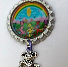 Grateful dead bottle cap keychain-greatful dead-grateful dead bear hippie keychain -key holder-silver bear charm dangle