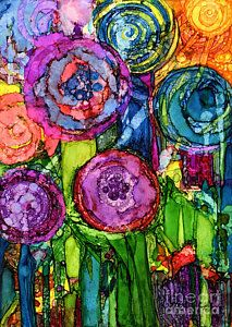 Alcohol Ink Painting - Number Vi by Vicki Baun Barry