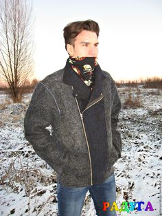 """Купить Куртка мужская """"Косуха"""" - войлок - тёмно-синий, куртка мужская, куртка косуха"""