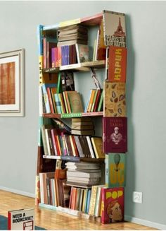 Bookshelf made of books.. Super cute if made with children's books for kids room.