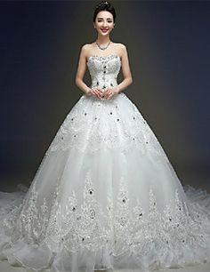 Ball Gown Wedding Dress - Ivory Chapel Train Sweetheart Tulle