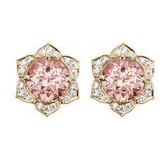 Morganite Earrings Flower Earring Studs Gold Stud Earrings