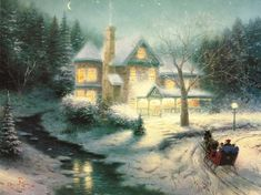 Thomas Kinkade Moonlit Sleigh Ride painted by artist needs 14 -18days for production and another 3 -5days for delivery. Description from paintingandframe.com. I searched for this on bing.com/images