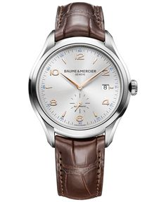 Baume & Mercier Men's Swiss Automatic Clifton Brown Leather Strap Watch 41mm M0A10054