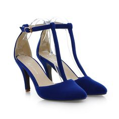 Women's T-Strap Solid High Heels Elegant Party Pumps Solid Pointed Toe Spring/Autumn shoes Sizes (4-7.5)